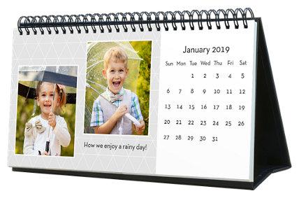 Black & White 12 Month Photo Softcover Desk Calendar 10 x 5