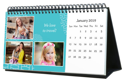 Bright & Colorful 12 Month Photo Hardcover Desk Calendar 10 x 5
