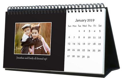 Classic Black & White 12 Month Photo Hardcover Desk Calendar 10 x 5