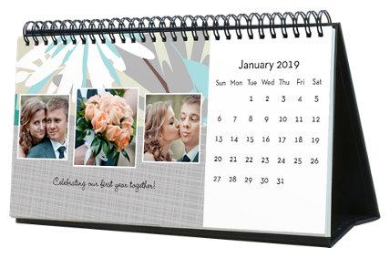 Floral 12 Month Photo Softcover Desk Calendar 10 x 5
