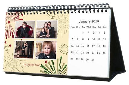 Holiday 12 Month Photo Hardcover Desk Calendar 10 x 5