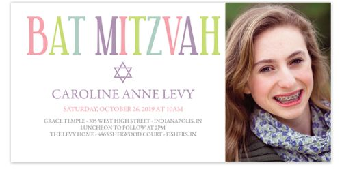 Pastels Bat Mitzvah Thank You Cards