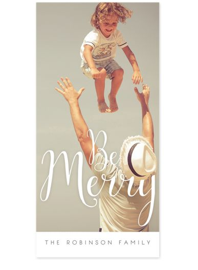 Be Merry Script Photo Christmas Cards