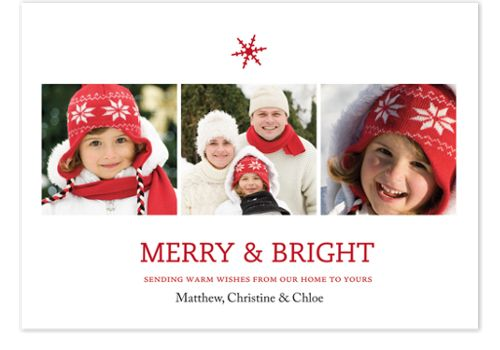 Merry & Bright Snowflake Photo Holiday Cards