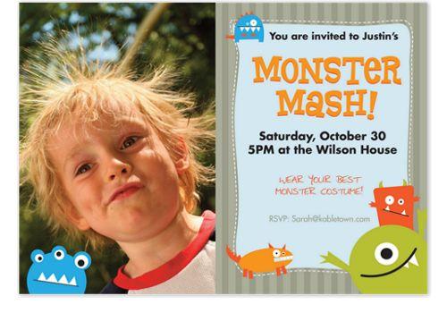 Monster Mash Horizontal Photo Kid Party Invitations