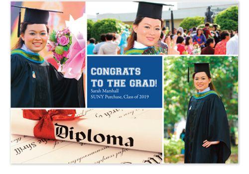 Floating Square Center Harvard Blue Graduation Announcements