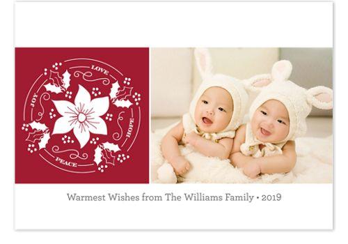 Pretty Poinsettia Holiday Photo Cards