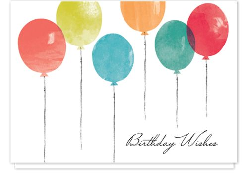 Watercolor Balloons Birthday Cards