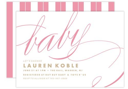 Pink Ribbons Baby Shower Invitations