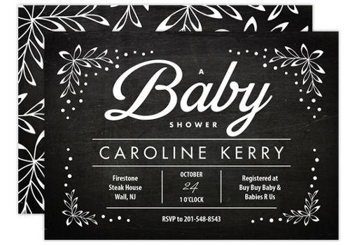 Chalkboard Baby Baby Shower Invitations