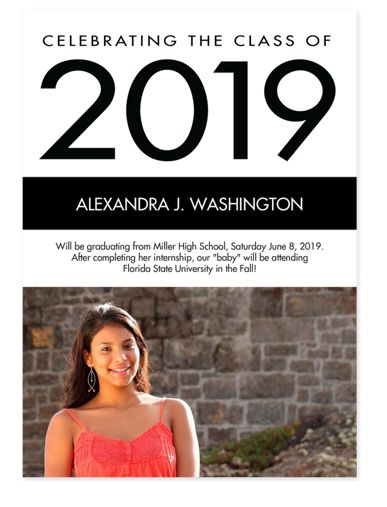 Black & White Graduation Photo Announcements