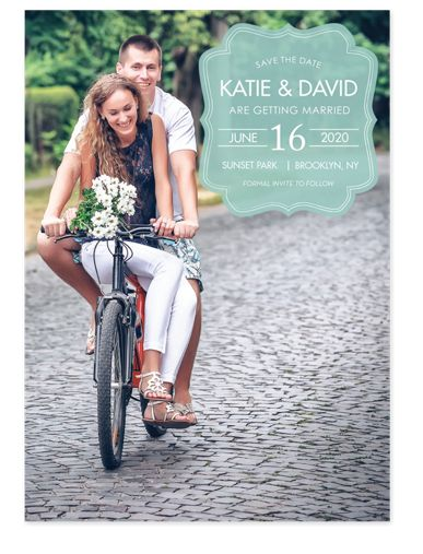 Scalloped Plaque Save the Date Photo Cards