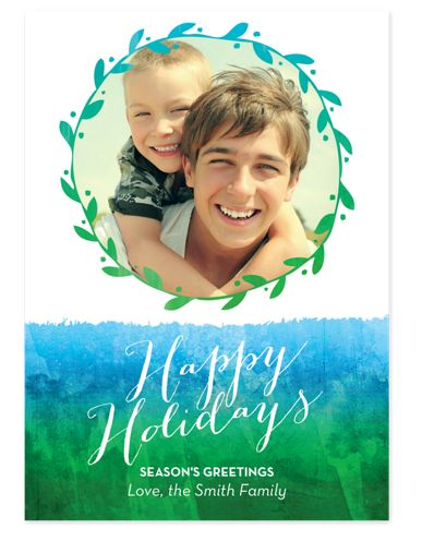 Watercolor Wreath Photo Holiday Cards