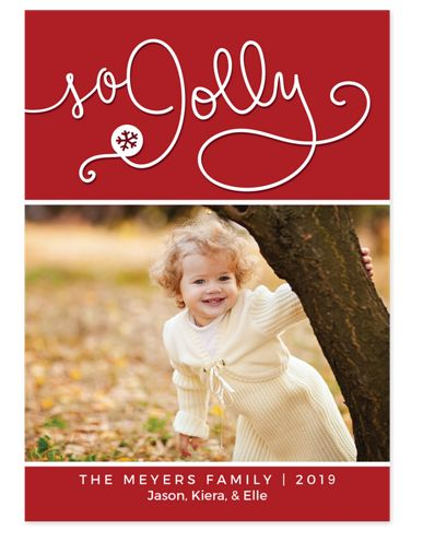 So Jolly Script Photo Christmas Cards