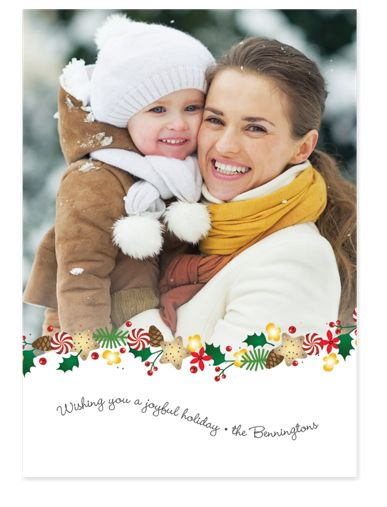 Candy Garland Holiday Photo Cards