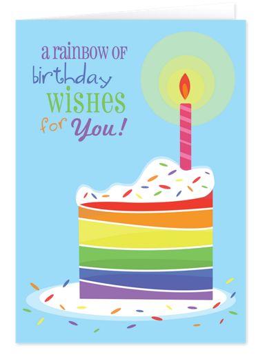 Rainbow Wishes Birthday Cards