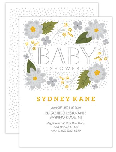 Silver Floral Baby Shower Invitations