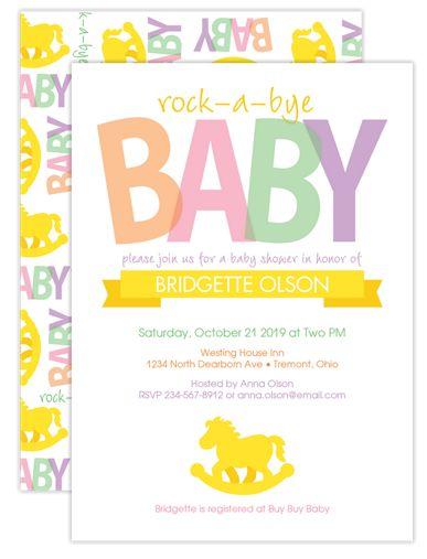 Rocking Horse Baby Shower Invites