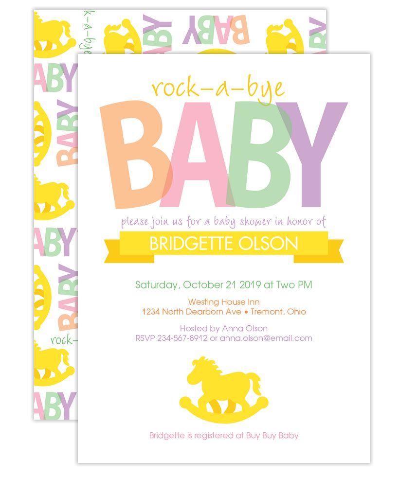 Rocking Horse Baby Shower Invites - Cherishables