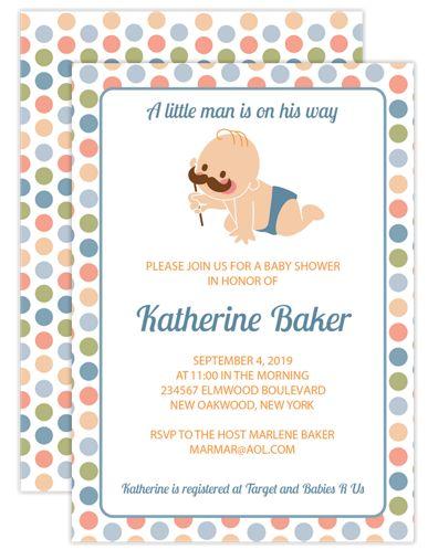 Little Man Boy Baby Shower Invitations