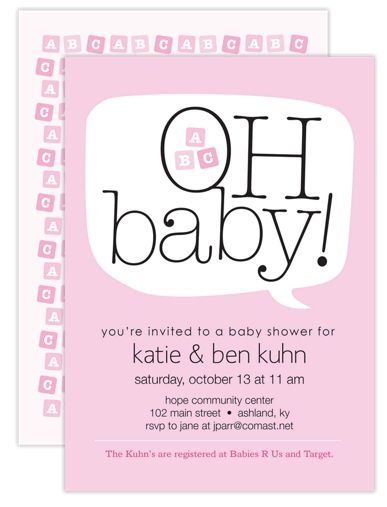 Word Balloon Pink Girl Baby Shower Invitations