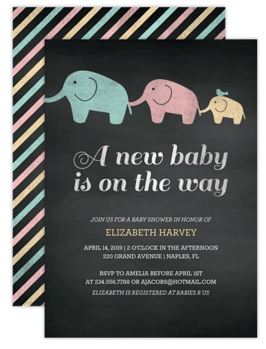 Elephant Parade Baby Shower Invitations