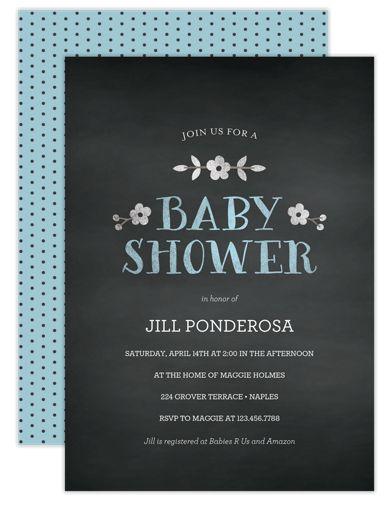 Chalk Daisies Blue Boy Baby Shower Invitations