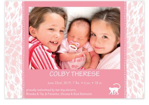 Cheetah Pink Photo Birth Announcement Cards