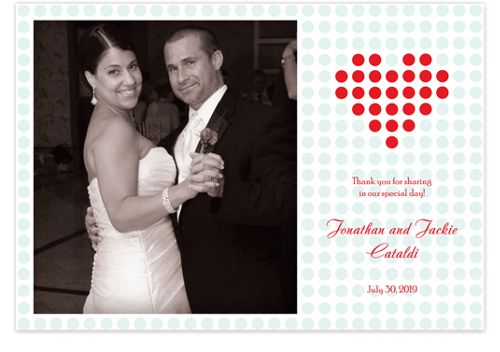Heart Dots Wedding Thank You Photo Cards