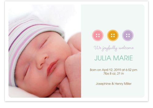 Buttoned Up Photo Announcement Cards