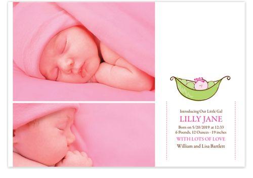 Little Pea Pod Birth Announcement Cards