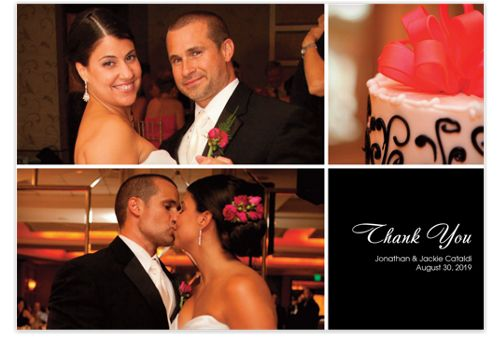 Three Photo Floating Right Box Photo Wedding Thank You Cards