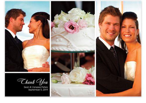 Three Photo Floating Left Rectangle Photo Wedding Thank You Cards
