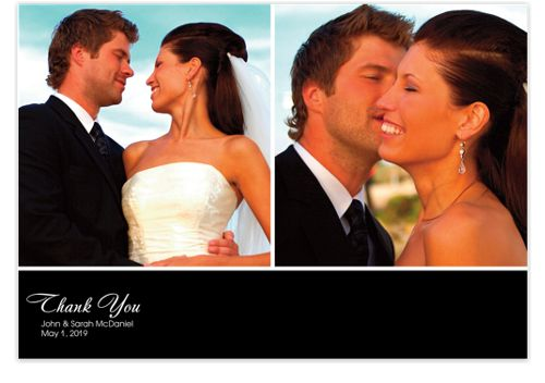 Two Photo Black Banner Wedding Thank You Cards