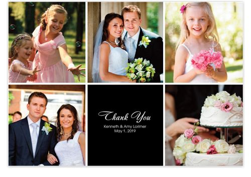 Floating Middle Box Photo Wedding Thank You Cards