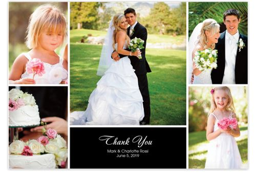 Floating Middle Rectangle Wedding Thank You Photo Cards
