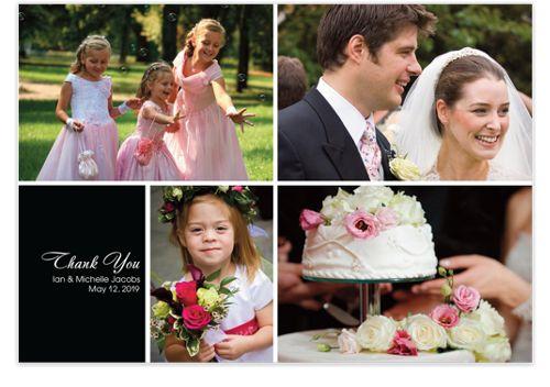 Four Photo Floating Left Box Wedding Thank You Photo Cards