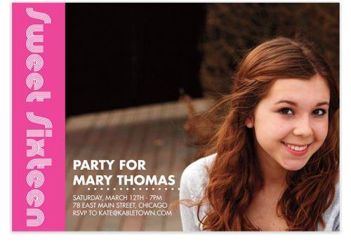 Sweet Sixteen Photo Kid Party Invitations
