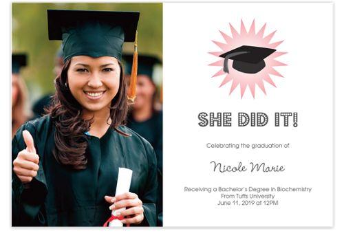 Grad Girl Photo Graduation Announcement Cards