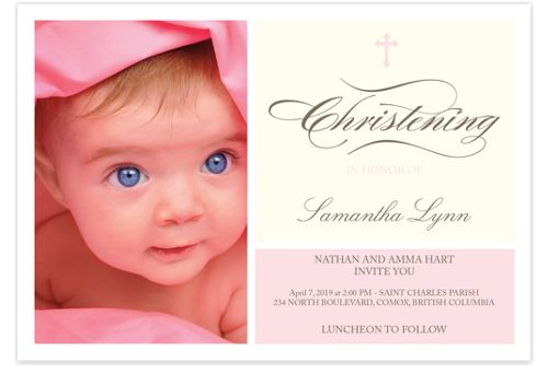 Cherubs Baptism Pink Invitations