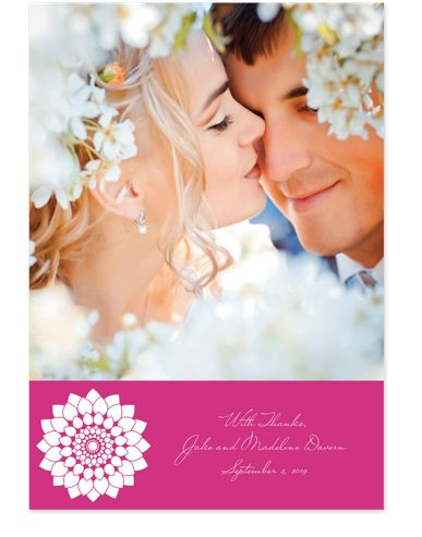 Fidelity in Fuchsia Photo Wedding Thank You Cards