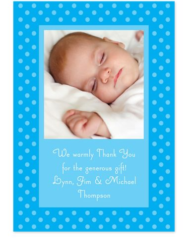 Framed Dots Blue Photo Thank You Cards
