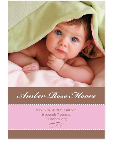 Cocoa Pink Baby Birth Announcement Cards