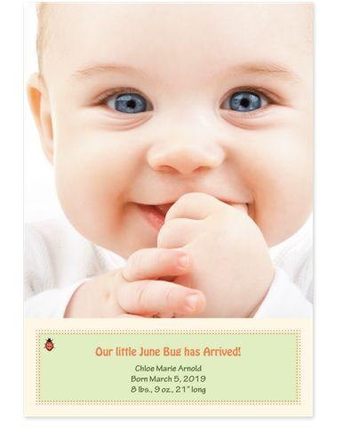 Ladybug Photo Birth Announcement Cards