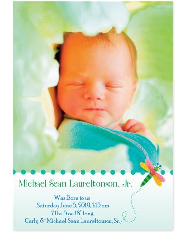 Dragonfly Baby Birth Announcement Photo Cards