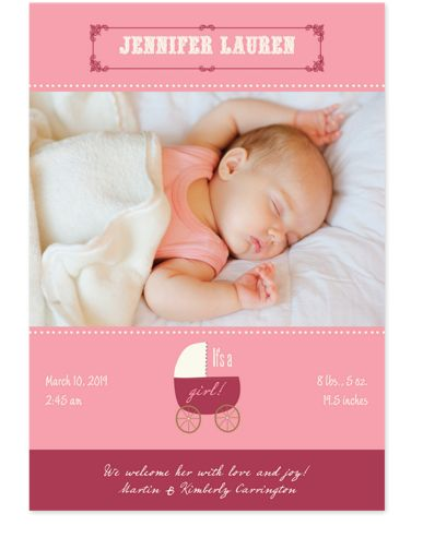 Rock-a-Bye Baby Pink Birth Announcement Photo Cards