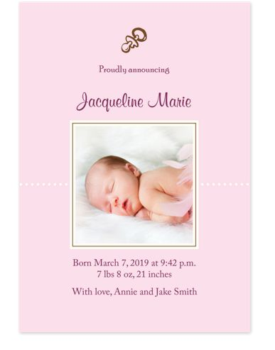 Proud to Announce Birth Announcement Cards