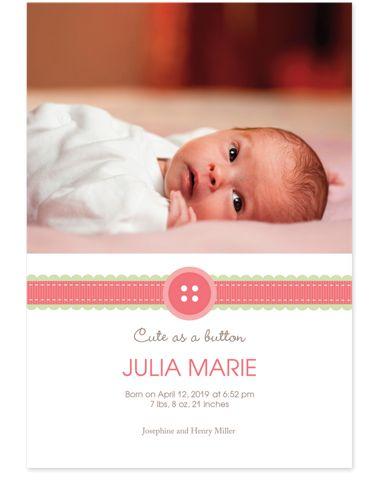 Ribbon Photo Birth Announcement Cards