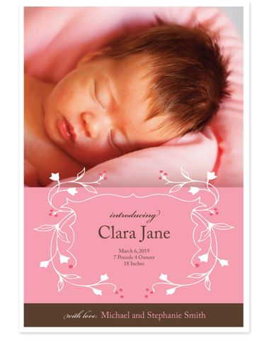 Sweet Greetings Birth Announcement Cards