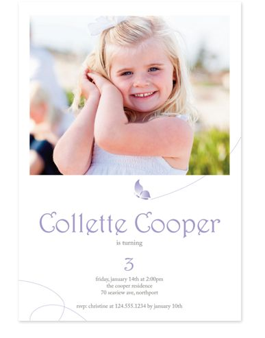 Soaring Butterfly Invite Photo Kid Party Invitations